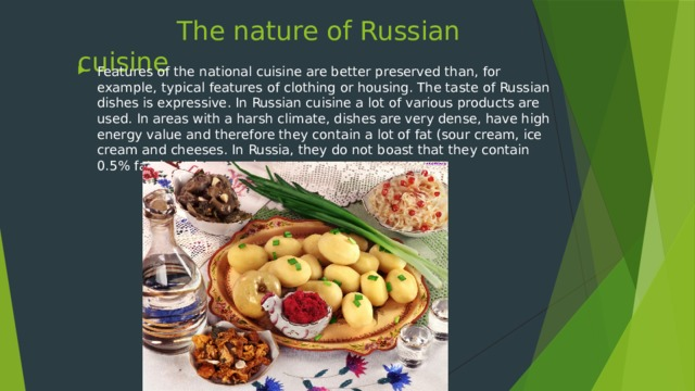 The nature of Russian cuisine